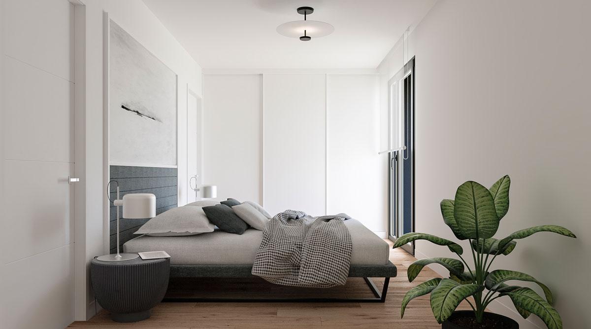 Habitación principal de vivienda unifamiliar en la promoción Molinos del Merón