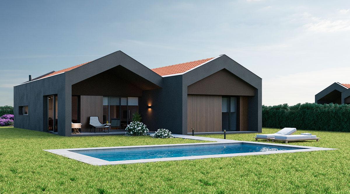 Vista de la casa desde le jardín con piscina